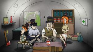 Die Familie sitzt im Bunker
